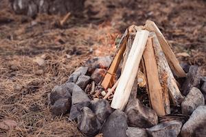 Brennholz in einer Lagerfeuerstelle